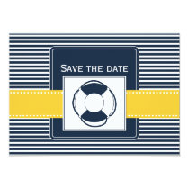 navy stripes, lifebuoy  nautical save the date card