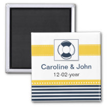 navy stripes, lifebuoy, nautical save the date magnet