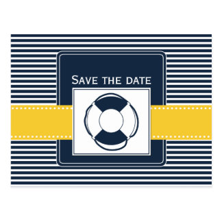 navy stripes, lifebuoy, nautical save the date postcard