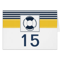 navy stripes,lifebuoy nautical  table number card