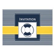 navy stripes and yellow life ring nautical wedding invites by mgdezigns