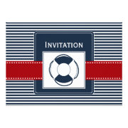 navy stripes,life ring, nautical wedding invites by mgdezigns