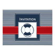 navy stripes, lifebuoy , nautical wedding invites