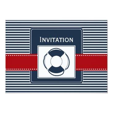 navy stripes, lifebuoy , nautical wedding invites
