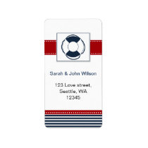 navy stripes, lifebuoy, nautical wedding labels