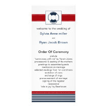 navy stripes, lifebuoy , nautical wedding programs
