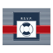 navy stripes, lifebuoy, nautical wedding rsvp card