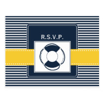 navy stripes, lifebuoy, nautical wedding rsvp postcard