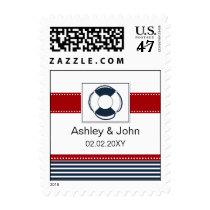 navy stripes, lifebuoy, nautical wedding stamps