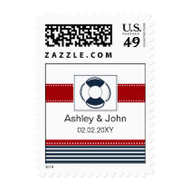 navy stripes, lifebuoy, nautical wedding stamps