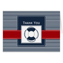 navy stripes, lifebuoy, nautical wedding Thank you Card