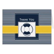 navy stripes, lifebuoy, nautical wedding Thank you Card