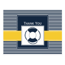 navy stripes, lifebuoy, nautical wedding Thank you Postcard