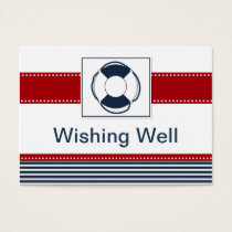 navy stripes,lifebuoy , nautical wishing well card