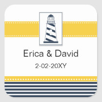 navy stripes,lighthouse, nautical favor stickers