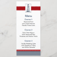 navy stripes,lighthouse, nautical menu cards