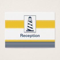 navy stripes,lighthouse, nautical Reception cards