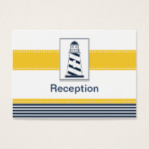 navy stripes,lighthouse, nautical Reception cards