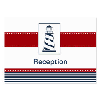 navy stripes, lighthouse, nautical Reception cards Business Card Templates
