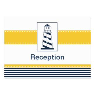 navy stripes lighthouse nautical Reception cards Business Card Template