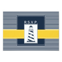 navy stripes,lighthouse nautical  rsvp 3.5 x 5 card