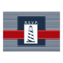 navy stripes,lighthouse, nautical  rsvp 3.5 x 5 card