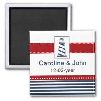 navy stripes,lighthouse, nautical save the date 2 inch square magnet