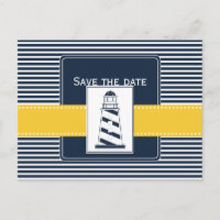 navy stripes,lighthouse, nautical save the date announcement postcard