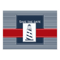 navy stripes, lighthouse, nautical save the date card