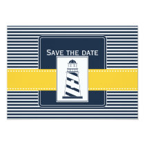 navy stripes,lighthouse, nautical save the date card