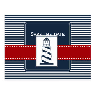 navy stripes,lighthouse, nautical save the date postcard
