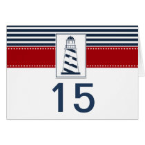 navy stripes,lighthouse nautical table number card