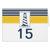 navy stripes,lighthouse, nautical  table number card