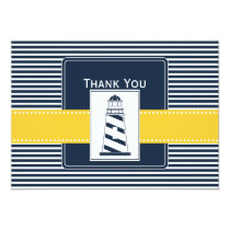 navy stripes,lighthouse, nautical  Thank you Card