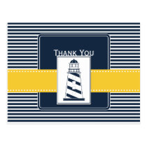 navy stripes,lighthouse, nautical Thank you Postcard