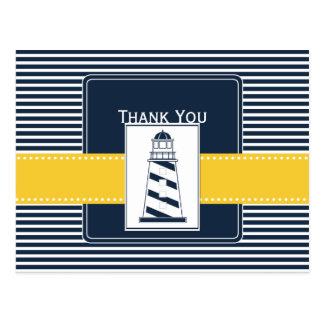 navy stripes,lighthouse, nautical Thank you Postcard