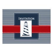 navy stripes, lighthouse, nautical wedding invites by mgdezigns