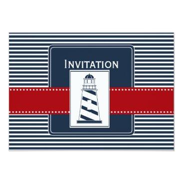 navy stripes,lighthouse, nautical wedding invites