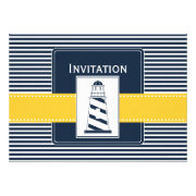 navy stripes and yellow lighthouse nautical wedding invites by mgdezigns