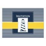 navy stripes, lighthouse, nautical wedding invites