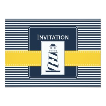 navy stripes, lighthouse, nautical wedding invites