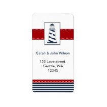 navy stripes,lighthouse, nautical wedding labels