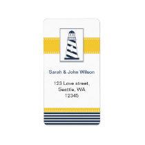navy stripes,lighthouse, nautical wedding labels