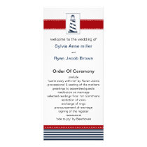 navy stripes,lighthouse, nautical wedding programs