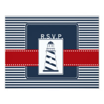 navy stripes,lighthouse nautical wedding rsvp card