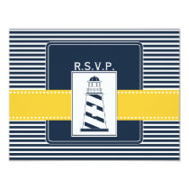 navy stripes,lighthouse, nautical wedding rsvp card