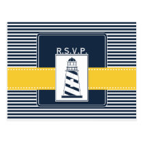 navy stripes,lighthouse, nautical wedding rsvp postcard