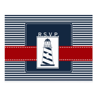 navy stripes,lighthouse, nautical wedding rsvp postcard