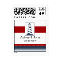 navy stripes,lighthouse, nautical wedding stamps