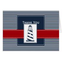 navy stripes,lighthouse nautical wedding Thank you Card